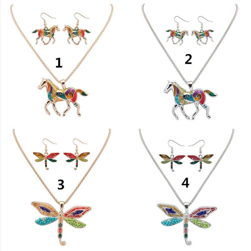 Mode / Set de bijoux Ensembles Boucles d'oreilles Collier Bohemian Allian Enamel Elephant Wing Dolphin Sea Horse Starfish Animal pour Femmes Party