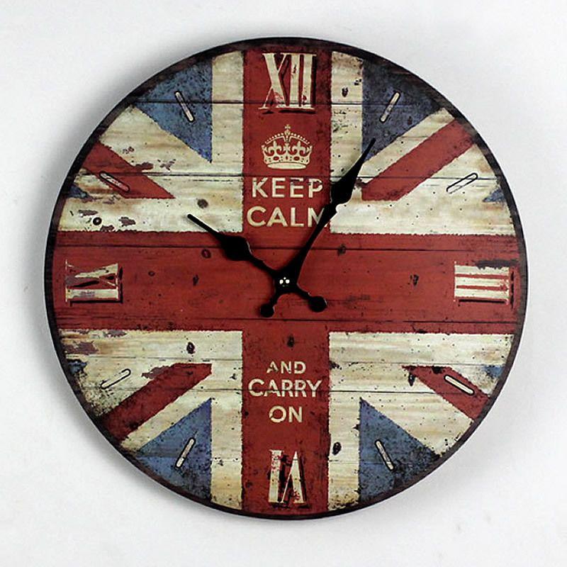 wholesale zakka nostalgia british style british flag wood wall clock kitchen electronic large decorative wall clocks gifts home decor 35cm clock walls