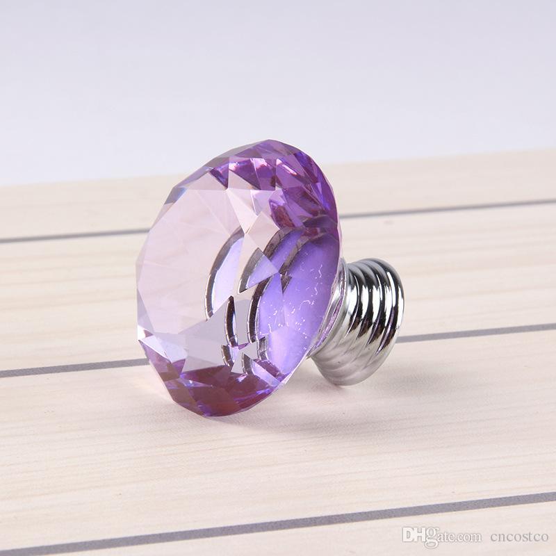 Freies DHL-purpurroter Kristall-Tür-Knopf 40mm glänzendes Polierchrom-Kabinett-Knopf-Zug-Griff für Garderoben-Hardware-Hauptküchen-Fach 9E