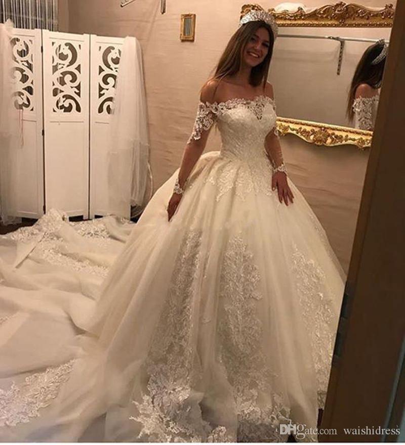 699531141012 Acquista Abiti Da Sposa Bianchi Con Balze Da Principessa Con Maniche ...