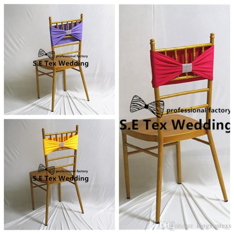 New Design Chiavari Chair Band Lycra Spandex Chair Sash With Diamond Buckle For Party Event Decoration