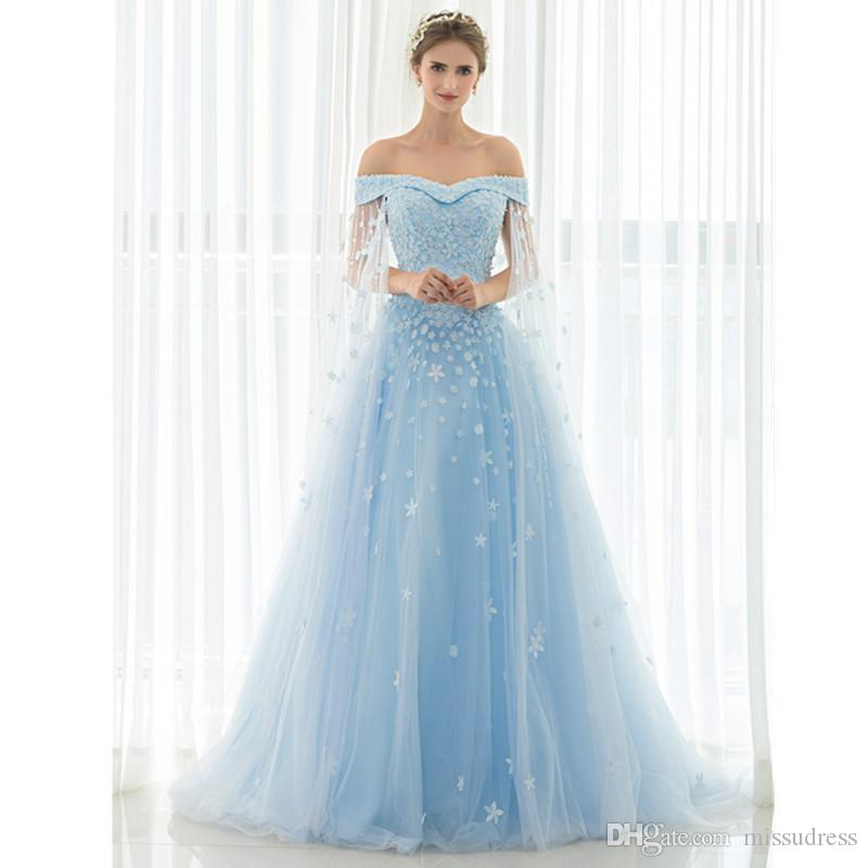 69b49a7e7e36 Off Shoulder Blue Long Prom Dresses With Shawl Lace Up Evening Gown Lace  Flowers Applique Crytal Pearls Beaded Cheap Evening Dresses Long Black Prom  Dresses ...