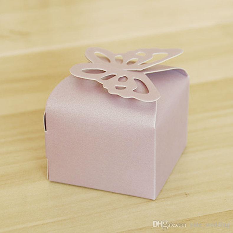 Más nuevo Cajas de dulces de boda de la mariposa Cuadros de regalo del partido de papel cuadrado Cajas del favor de la boda Púrpura Rosa Blanco Amarillo Rojo Cremoso