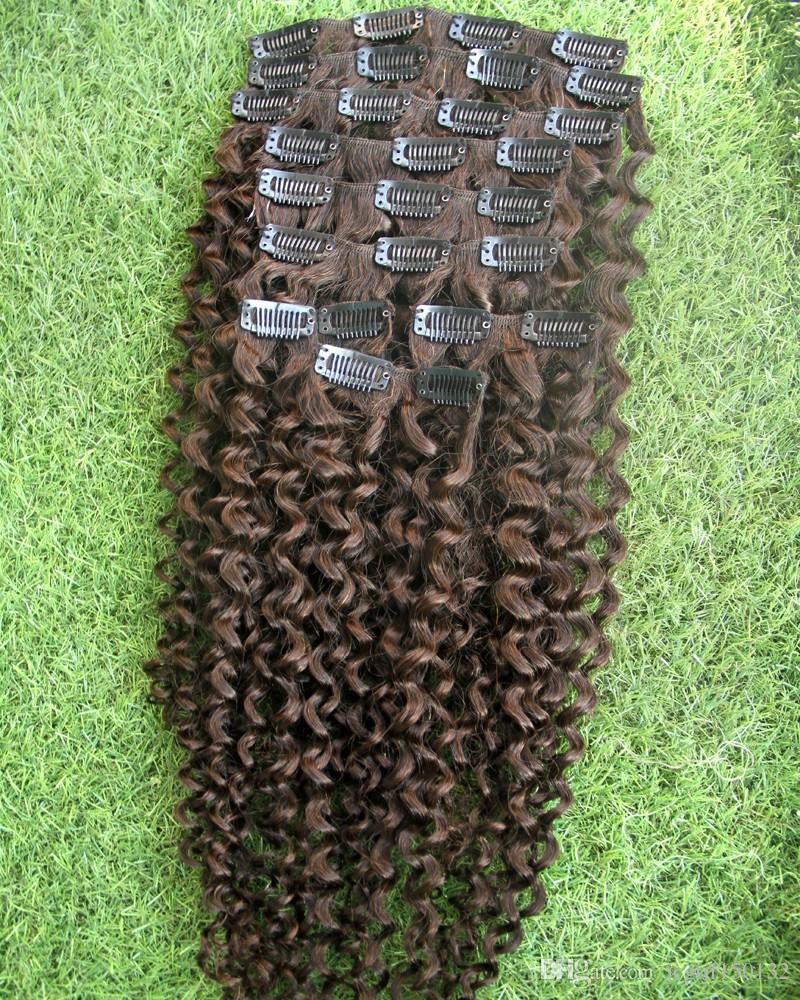 #4 Dark Brown Kinky curly clip in hair extensions african american clip in human hair extensions 100g afro kinky curly clip ins