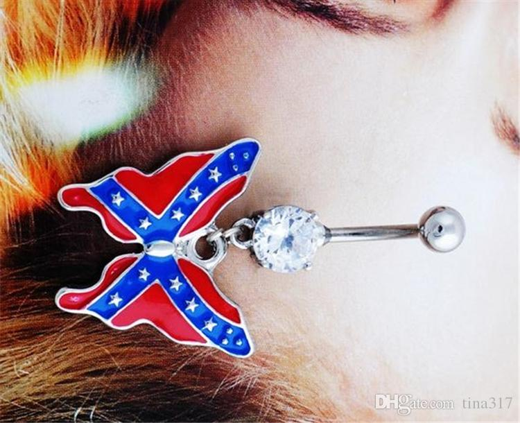 New Prevent allergies body piercing belly button rings lovely national flag butterfly pendant navel rings umbilical nail 2991