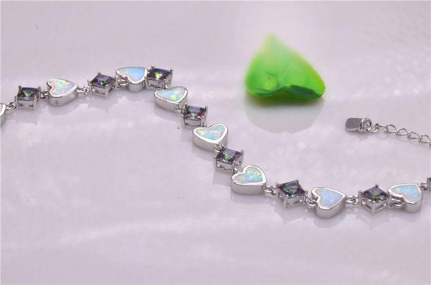 Vendita al dettaglio all'ingrosso Moda 7.5 pollici Fine Rinbow bianco fuoco opale braccialetto 925 gioielli nastro le donne _DSC3155
