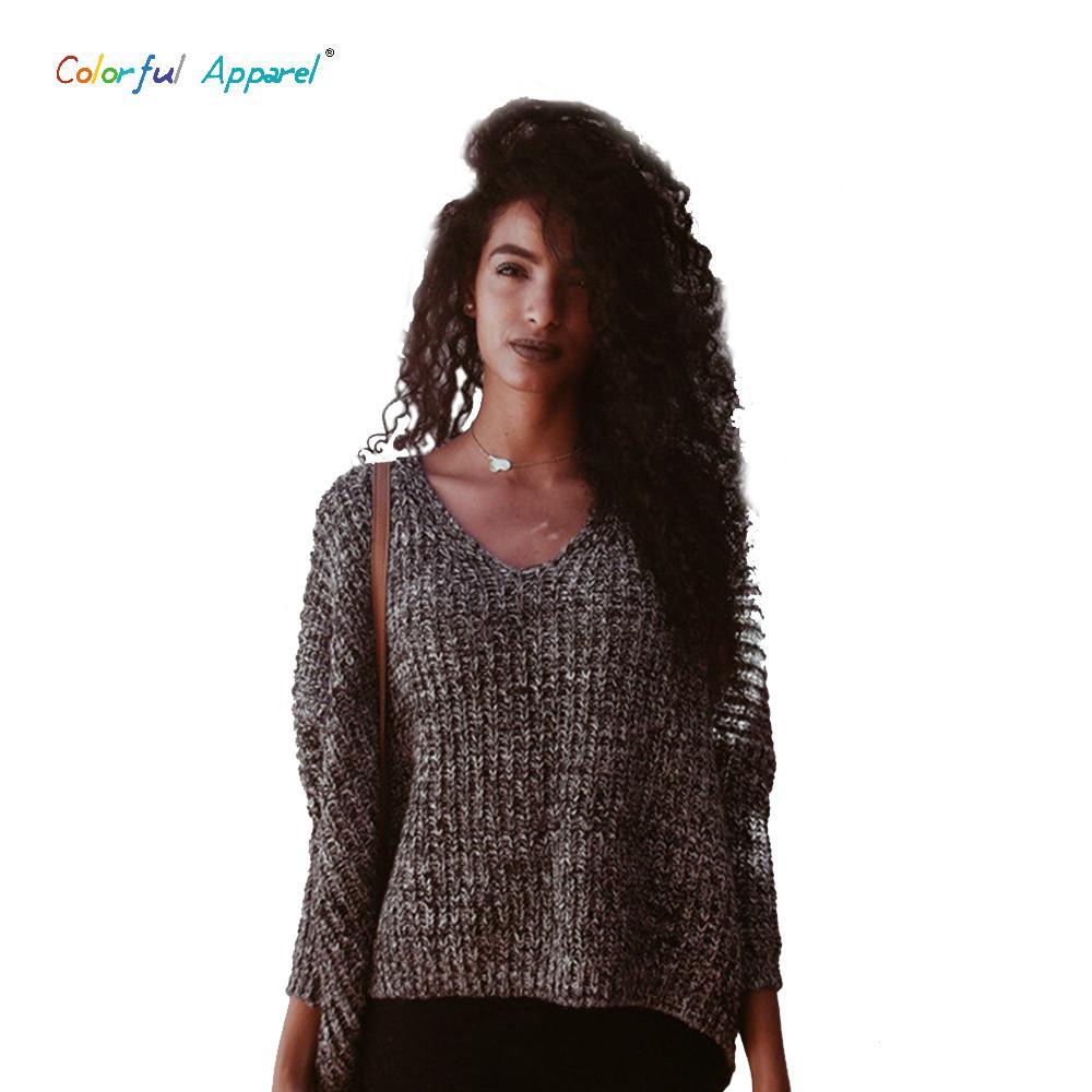 09947ff36 2019 Wholesale 2016 Women Ss V Neck Batwing Sleeve Sweater Oversized ...