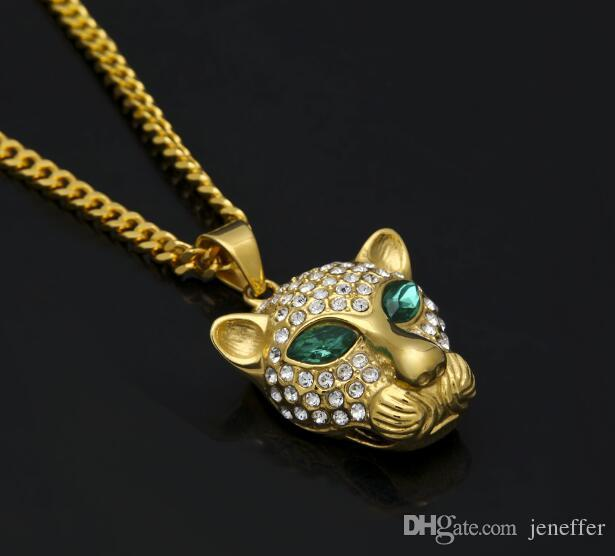 hot Emerald green gem eyes rhinestone leapoard pendant bling necklace two size big small leapoard hiphop fashion Jewelry couple necklace