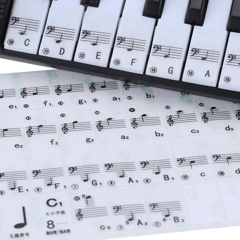 best quality transparent 49 61 key electronic keyboard 88 key piano stave note sticker for white. Black Bedroom Furniture Sets. Home Design Ideas