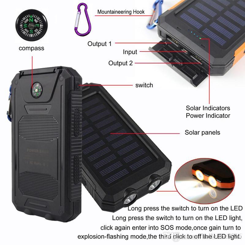 20000mAh 2 USB 포트 솔라 파워 뱅크 충전기 외장형 백업 배터리, 아이폰 iPad 용 소매 박스 포함 Samsung
