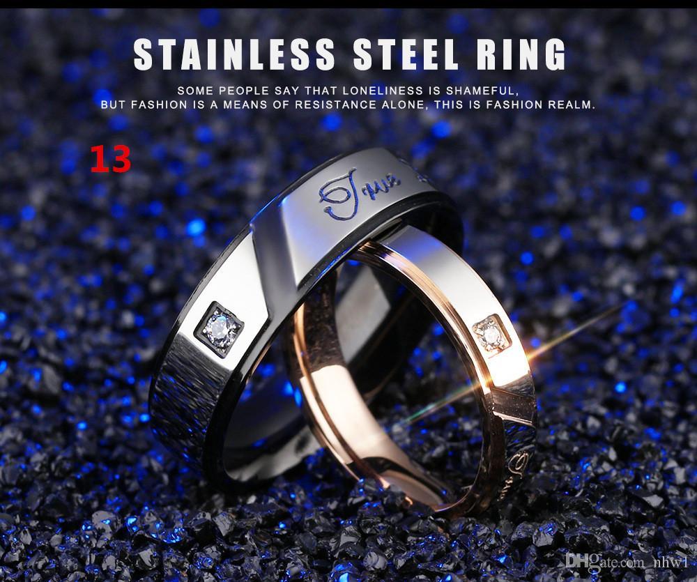 Venta caliente de titanio anillos de pareja anillos de acero inoxidable para mujeres hombres anillos de boda con la joyería de diamantes de imitación de compromiso de regalo de boda