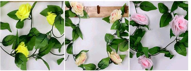 Simulation of artificial flowers decorate the rose plant cane tendril duct decorative silk flower cane false leaves