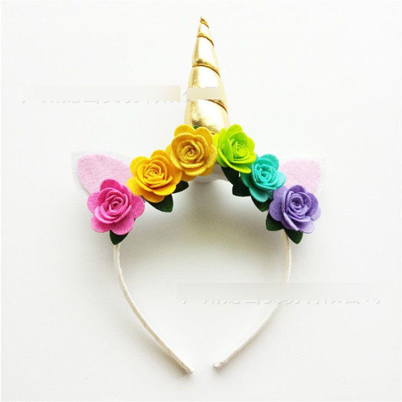 Cinturino in corno di unicorno Europen e stile americano ragazze paillettes coniglio orecchio stereo fiori fatti a mano bambini fiore fascia foto prop T4164