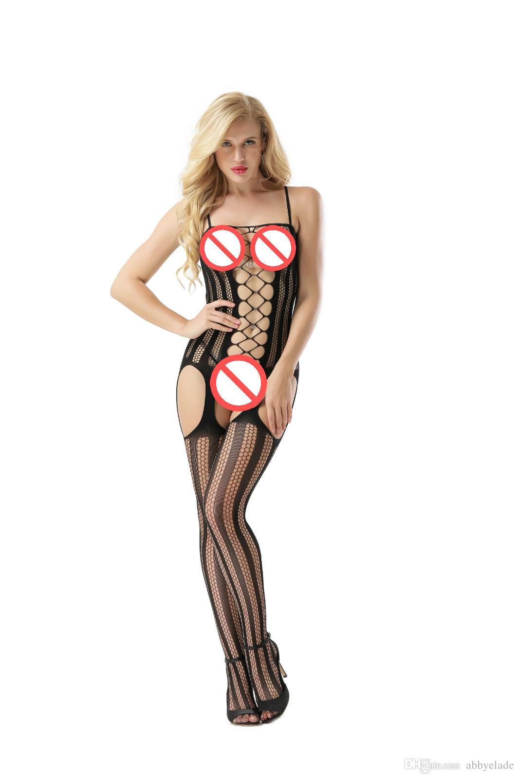 Kolsuz Fishnet Chemise Garters Vücut Çorabı Gecelikler vücut çorabı striptizci narin Sexi Lingerie Opak Bodysocks bodystocking seksi