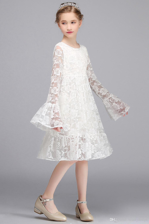 2017 boho lace vestidos da menina de flor para o jardim de verão casamentos na altura do joelho tripulação pescoço crianças vestidos formais vestidos de aniversário meninas