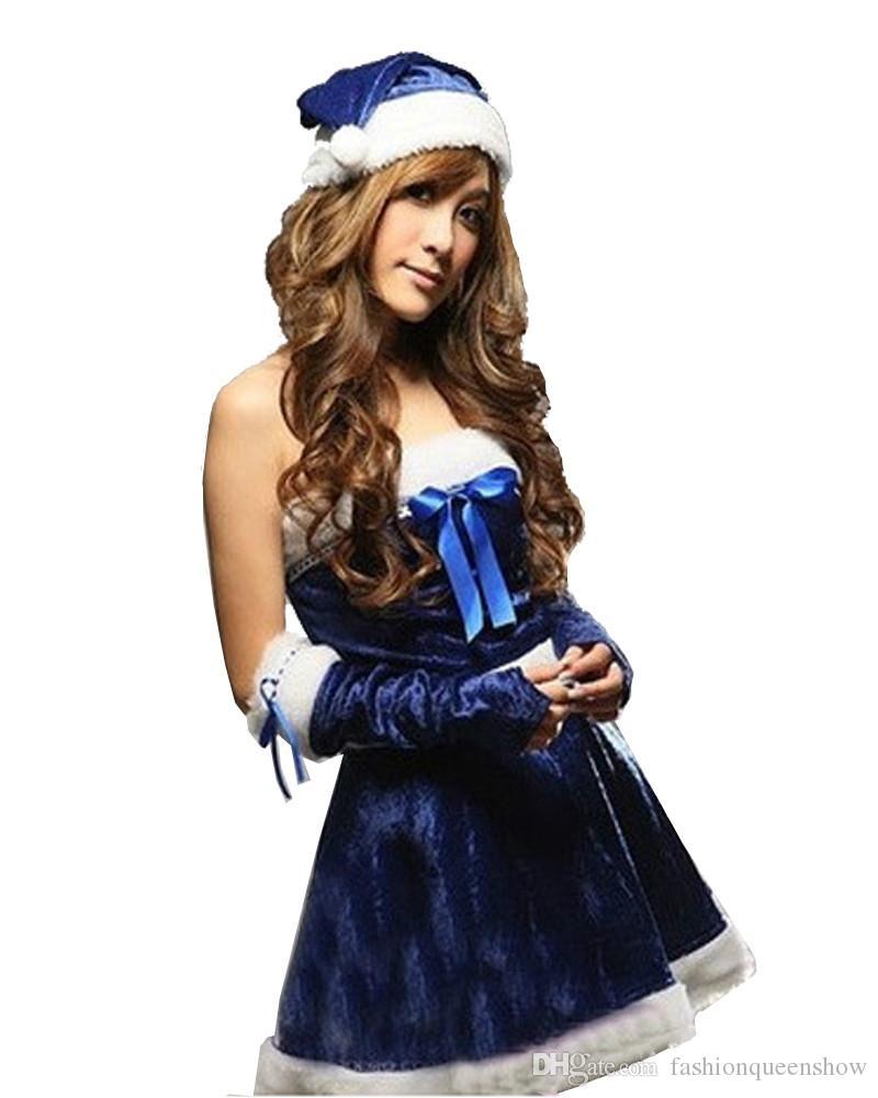 Nouveauté Dames Bleu Velours Mini Robe Mme Santa Claus Festival De Noël Parti Cosplay Tenue Avec Chapeau