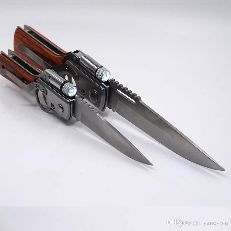 Legal AK47 Dobrável Arma Faca 440 Lâmina De Aço Lidar Com Ferramentas de Bolso EDC Tactical Camping Ao Ar Livre Facas de Sobrevivência Com Luz LED