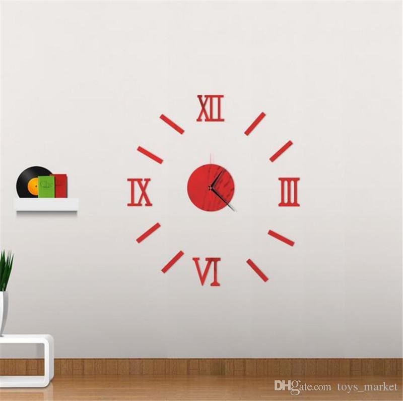 Sticker Duvar Saati Modern DIY Analog 3D Ayna Yüzey Numaraları Ev Dekorasyon Oturma Odası Duvar Saatleri için Moda Saat