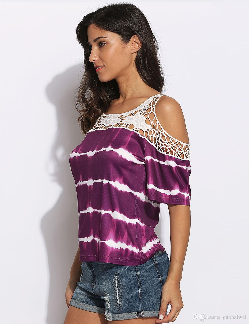fashion new arrival women clothing Lady Purple Cold Shoulder Half Sleeve Cotton Lace Patchwork Chiffon Top female t-shirt