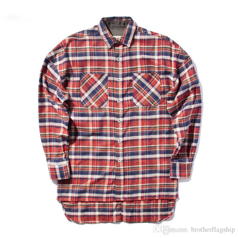 2017 HIP hop red plain shirts fashion street wear shirts man hot selling oversize zipper checked god