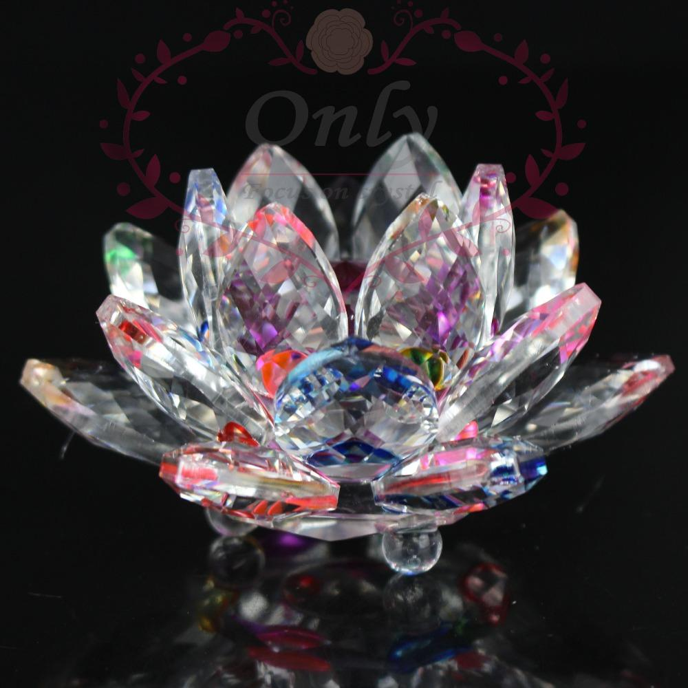85mm Rainbow Color Pure K9 Nature Crystal Lotus Flower Crafts For