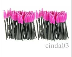 Hot Attractive 100pcs/lot make up brush Pink synthetic fiber One-Off Disposable Eyelash Brush Mascara Applicator Wand Brush JE24 free shippi
