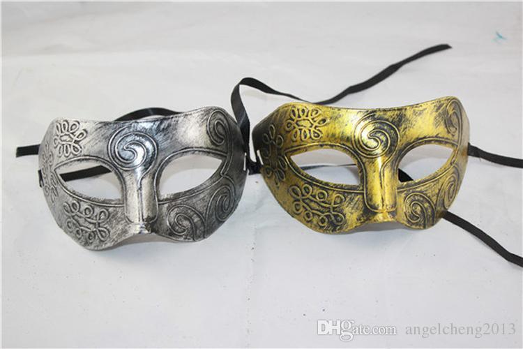 Gladiateur romain rétro Halloween masques de fête homme femme enfants Mardi Gras Masquerade masque or et argent disponible