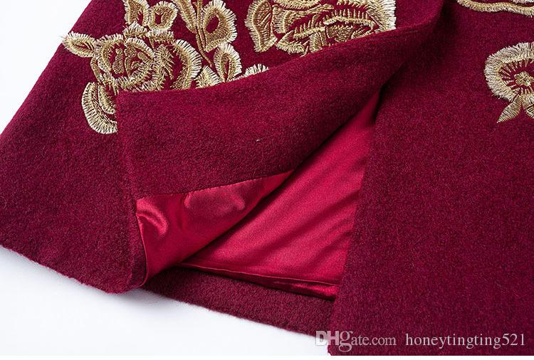 Neue herbst winter europäischen design mode luxus stickerei blume drei viertel sleeve langen graben wollmantel plus größe M-3XL