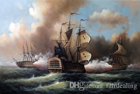 2018 1800s Pirate Ship Sea Cannon Attack Ocean Naval,Pure Hand ...