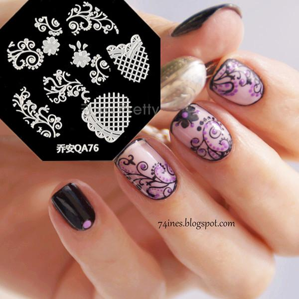 Wholesale Nail Art Stamp Template Beautiful Grid Lace Flower Vine ...
