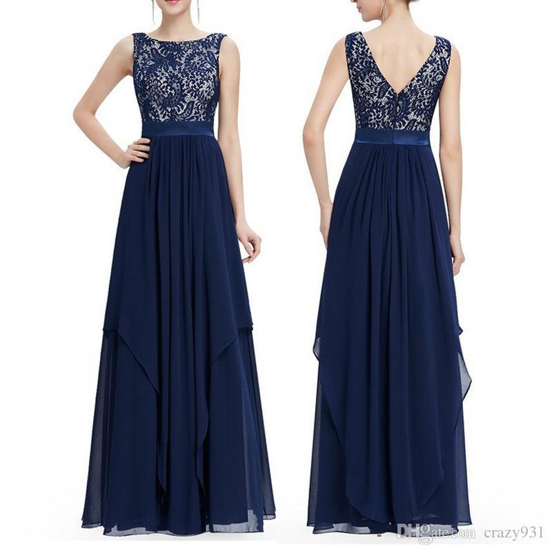 Long Party Women Sleeveless Dress O Neck Blue Lace Plus Size Formal