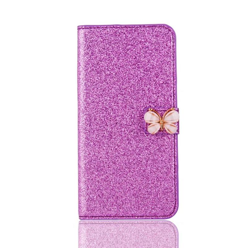 Butterfly Glitter Wallet Leather For Iphone 11 Pro Max XR XS 7 6 5 5S SE Galaxy S20 S10 Card Slot Flip Cover Pouches Cover Powder Sparkle