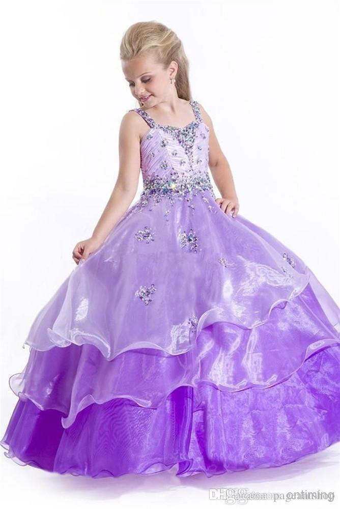 Doux Violet Princesse Filles Perlé Bretelles Robes De Bal Enfants Plancher Longueur De Cristal Robe Enfant Pageant Robe