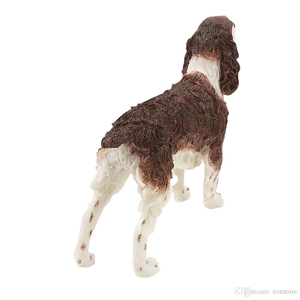 الإنجليزية سبرينغر الكلب الكلب تمثال الحيوان تمثال الراتنج الكلب اليدوية عطلة الحلي للديكور المنزل هدية عيد