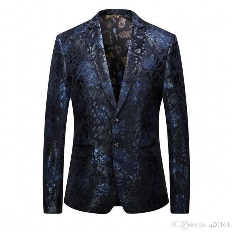 1df45d14c8 Cappotto in costume da uomo in velluto stampato Blazer retrò in stile  gentiluomo Tailor Commerce Party Slim Fit De Mariage Pour Hommes