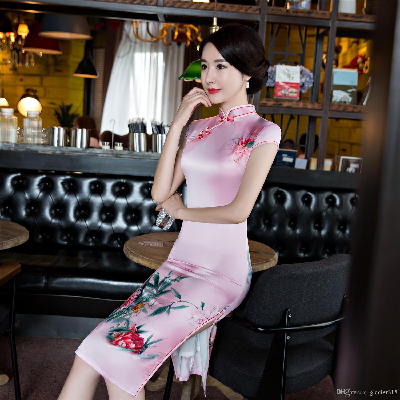 Shanghai Hikaye Sahte Ipek Qipao elbise Diz Boyu Cheongsam ulusal eğilim çin tarzı elbiseler Pembe wome için Geleneksel Çin Elbise