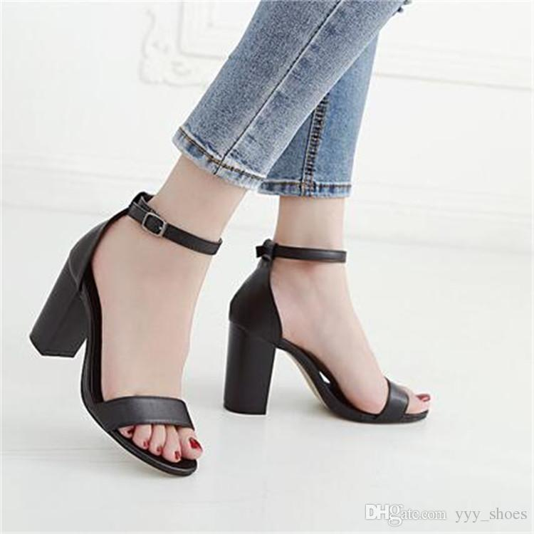 Summer Casual Sandals Prom Party Womens Shoes Chunky Heels Ladies Shoe Thick Heel 9 cm Buckle Strap Fast Shipping