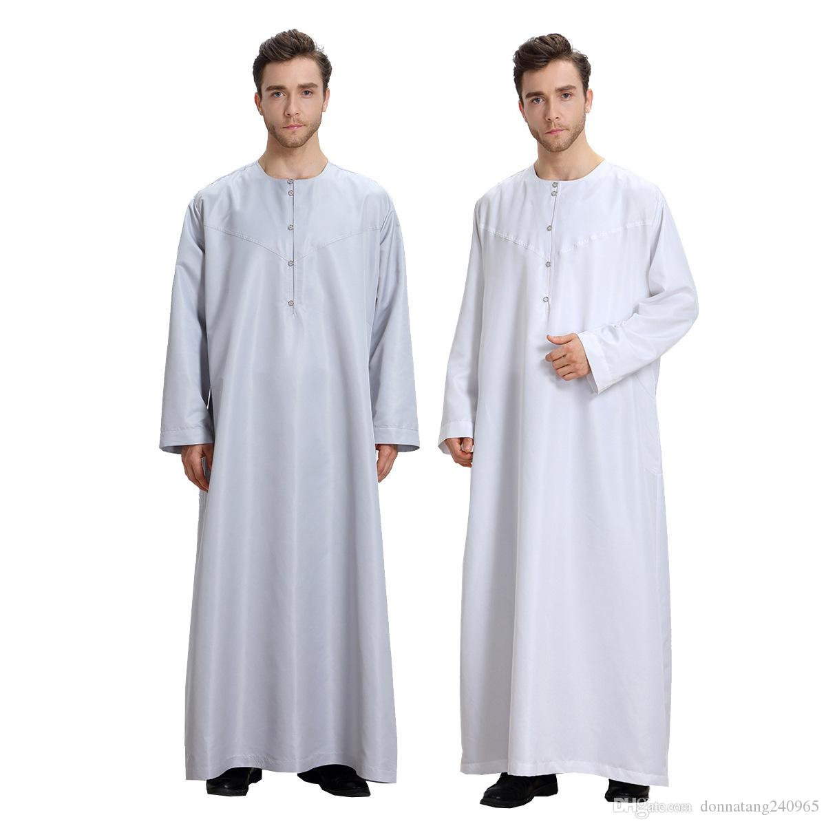 Sleeve Clothing White Long Islamic Muslim Size Saudi Arab 3xl Dress Plus Moslim Thobe Men eDYW2IbEH9
