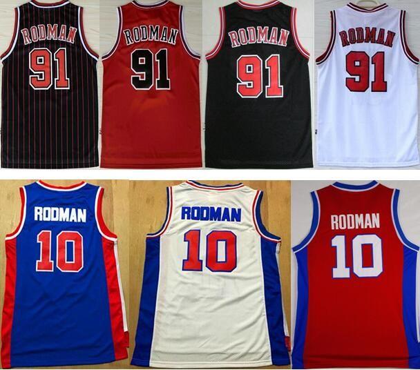 28e114319eb 2019 Retro #10 Rodman Blue Red White Jerseys Throwback #91 Dennis Rodman Basketball  Jerseys Black Embroidered Logos For Men From Martens_tony, ...