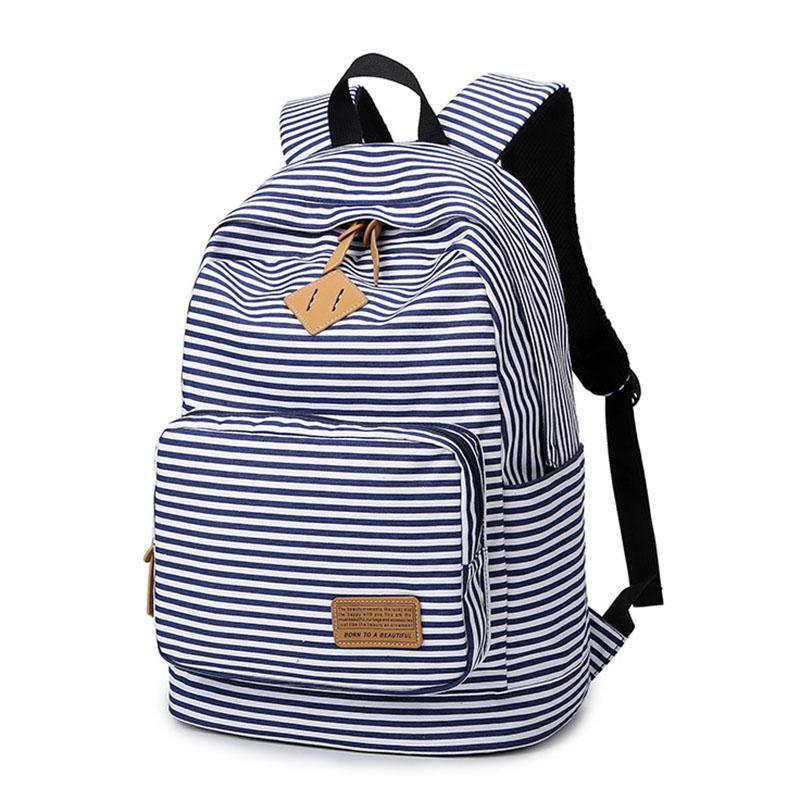19299b9b96ed Backpack Striped Women Canvas Backpack Teenage Backpacks for Teen Girls  Teenagers Bagpack Youth Female Mochila Feminina High Quality Backpack China  …