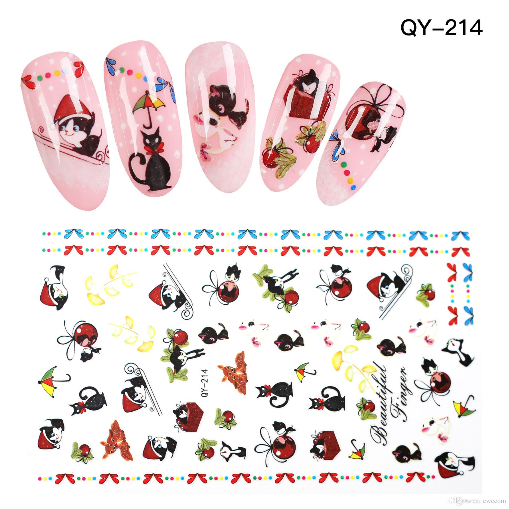 High Quality Cute Cartoon Cat Nail Art Stickers Decals Nail Design ...
