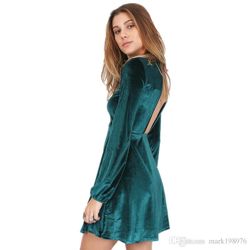 Hot Sale Women Dress 2017 Autumn Winter Velvet Dresses Long Sleeve