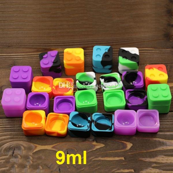 Lego caja de aceite de cera de silicona 9 ml de silicona cuadrado dab envase bho silicona antiadherente cera extracto de aceite bho contenedor