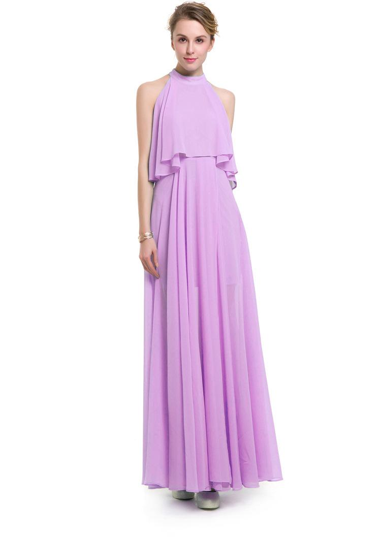 New arrival solid full dress women party long dresses lady summer formal clothes in ruffle sleeveless and slip design OL-8201