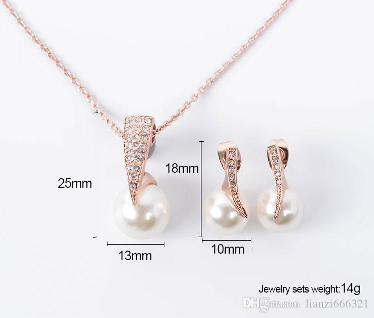 Hot New Fashion Perle Cristal Strass CZ Collier Boucles D'oreilles Parures De Bijoux De Mariage Accessoires De Mariage Ensemble De Bijoux HJ143