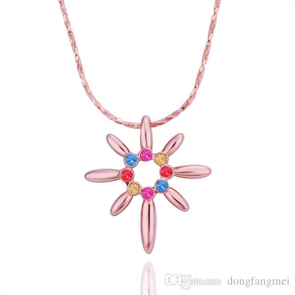 Best gift Rose Gold red crystal jewelry Necklace for women DGN505,plant 18K gold gem Pendant Necklaces with chains