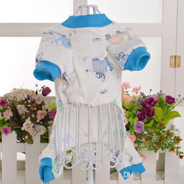 Unisex Pet cane piccolo in cotone stampato animale tuta cappotto pigiama Camicia ClothesWX