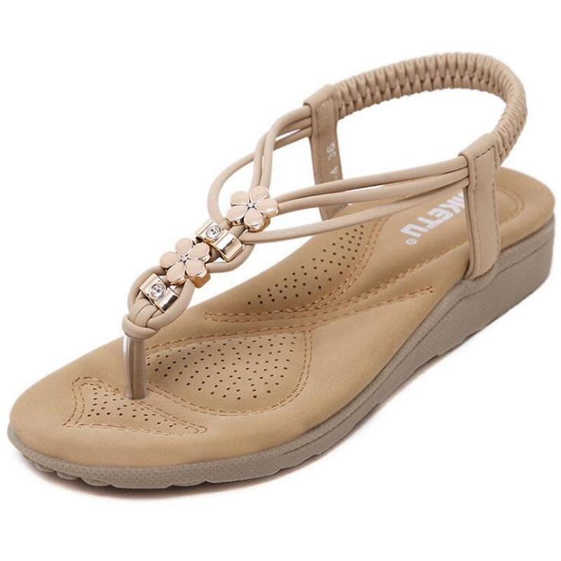 968e70796bd807 Summer New Fashion Women Sandals Diamond Soft Bottom Casual Comfortable  Flat Sandals Large Size Beach Sandals Sandals High Heels From Walonshoe