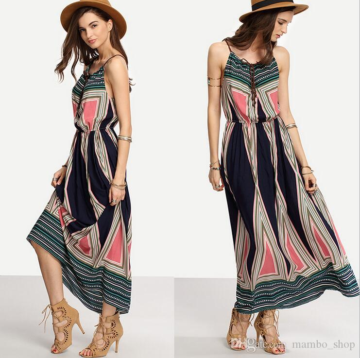 2323629a9fd4c Women Halter Neck Chiffon Dress Floral Print Sleeveless Split Backless Long  Dress Elegant Hollow Out Beach Maxi Boho Dress M25 Gown Casual Dresses From  ...