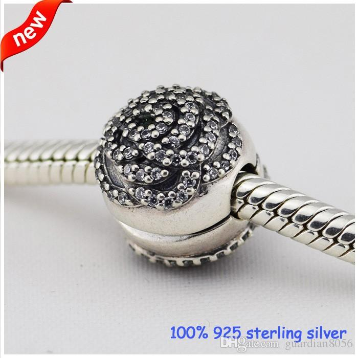 Fits Pandora Bracelets Rose Clip Silver Beads With Cubic Zirconia 2015 New 100% 925 Sterling Silver Charms DIY Jewelry Wholesale